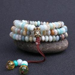 Buddhist Natural Amazonite Mala of 108 Flat Beads with Buddha Charm