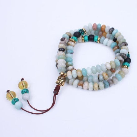Mala Natural Amazonite Mala with Buddha Charm bead amethyst Third Eye Transcend amazonite mala meditation stone crysal reiki crystal healing bracelet necklace yoga bracelet yoga beads