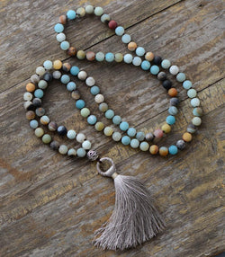 Buddhist Natural Amazonite Mala with Tassel