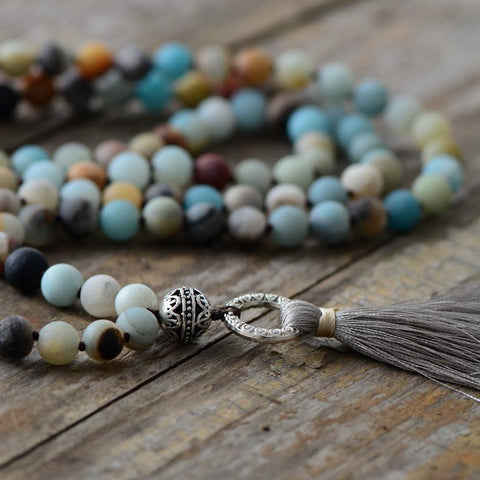 Mala Natural Amazonite Mala with Tassel bead amethyst Third Eye Transcend amazonite mala meditation stone crysal reiki crystal healing bracelet necklace yoga bracelet yoga beads