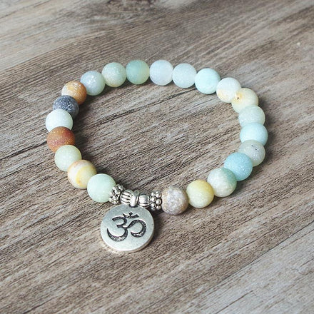 Mala Natural Amazonite Om Bracelet bead amethyst Third Eye Transcend amazonite mala meditation stone crysal reiki crystal healing bracelet necklace yoga bracelet yoga beads
