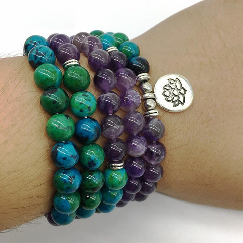 Mala Natural Amethyst and Chrysocolla Lotus Mala bead amethyst Third Eye Transcend amazonite mala meditation stone crysal reiki crystal healing bracelet necklace yoga bracelet yoga beads