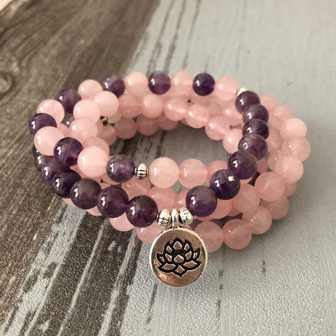 Mala Natural Amethyst and Rose Quartz Lotus Mala bead amethyst Third Eye Transcend amazonite mala meditation stone crysal reiki crystal healing bracelet necklace yoga bracelet yoga beads