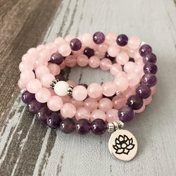 Mala Natural Amethyst and Rose Quartz Lotus Mala Third Eye Transcend