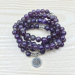 Mala Natural Amethyst Lotus Mala bead amethyst Third Eye Transcend amazonite mala meditation stone crysal reiki crystal healing bracelet necklace yoga bracelet yoga beads