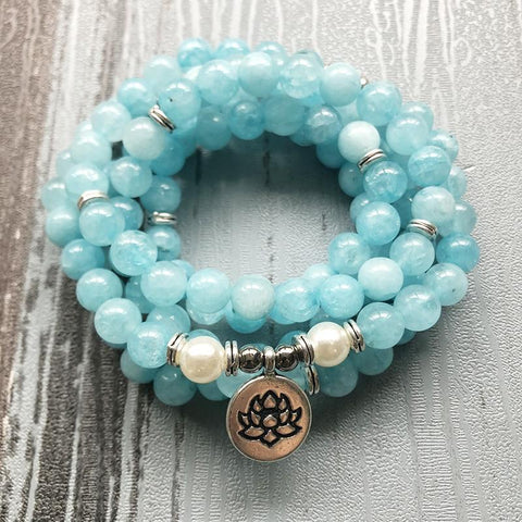 Mala Natural Aquamarine Lotus Mala Third Eye Transcend