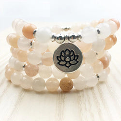 Mala Natural Aventurine Lotus Mala Third Eye Transcend