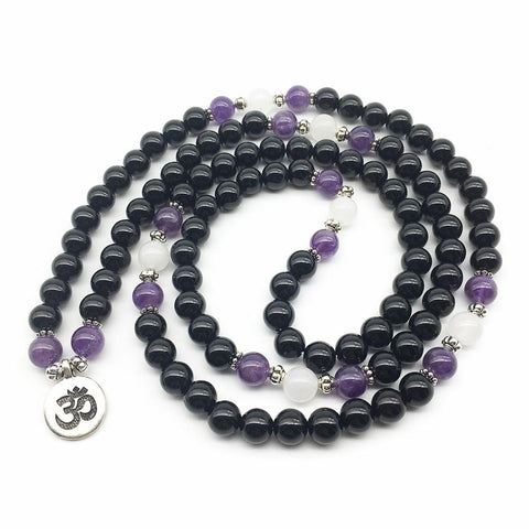 Mala Natural Black Onyx and Amethyst Om Mala bead amethyst Third Eye Transcend amazonite mala meditation stone crysal reiki crystal healing bracelet necklace yoga bracelet yoga beads