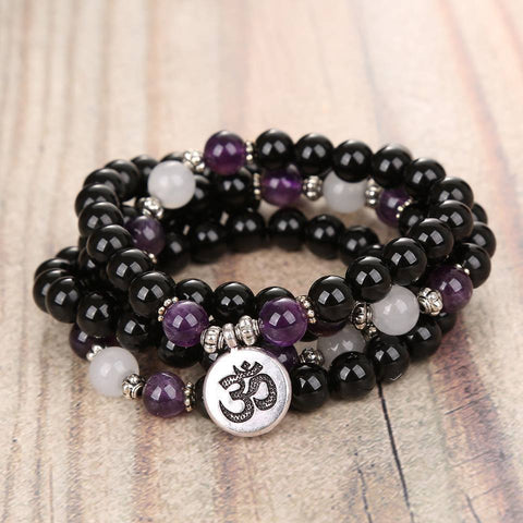 Mala Natural Black Onyx and Amethyst Om Mala Third Eye Transcend