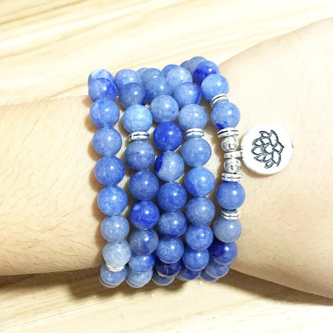 Mala Natural Blue Aventurine Lotus Mala bead amethyst Third Eye Transcend amazonite mala meditation stone crysal reiki crystal healing bracelet necklace yoga bracelet yoga beads