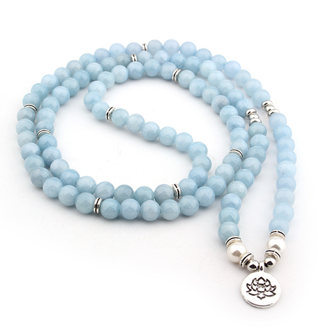 Mala Natural Blue Chalcedony Lotus Mala Third Eye Transcend
