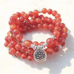 Mala Natural Carnelian Lotus Mala bead amethyst Third Eye Transcend amazonite mala meditation stone crysal reiki crystal healing bracelet necklace yoga bracelet yoga beads