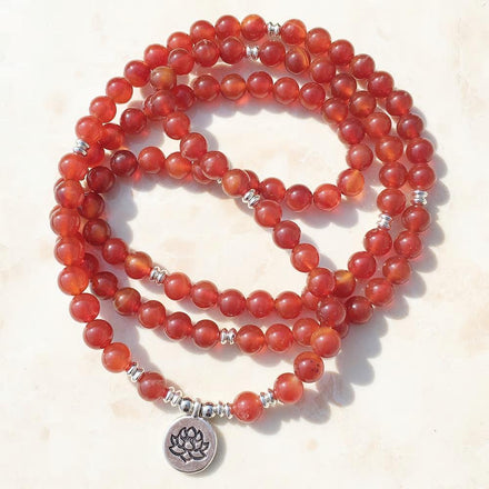 Mala Natural Carnelian Lotus Mala Third Eye Transcend
