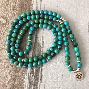 Mala Natural Chrysocolla Lotus Mala bead amethyst Third Eye Transcend amazonite mala meditation stone crysal reiki crystal healing bracelet necklace yoga bracelet yoga beads