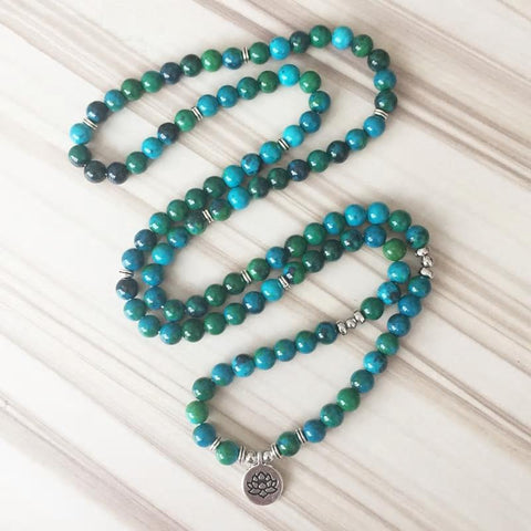 Mala Natural Chrysocolla Lotus Mala Third Eye Transcend