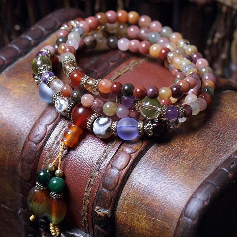 Mala Natural Colorful Crystal Quartz Mala bead amethyst Third Eye Transcend amazonite mala meditation stone crysal reiki crystal healing bracelet necklace yoga bracelet yoga beads