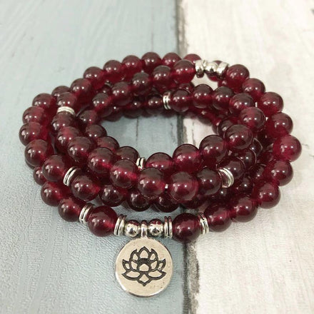 Mala Natural Garnet Lotus Mala Third Eye Transcend