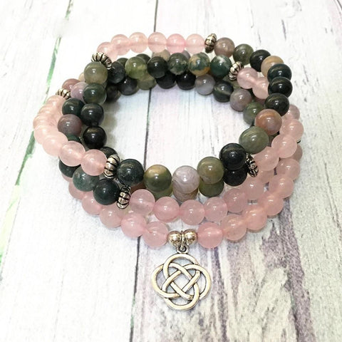 Mala Natural Indian Agate and Rose Quartz Lotus Mala Third Eye Transcend