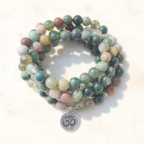 Mala Natural Indian Agate Om Mala bead amethyst Third Eye Transcend amazonite mala meditation stone crysal reiki crystal healing bracelet necklace yoga bracelet yoga beads