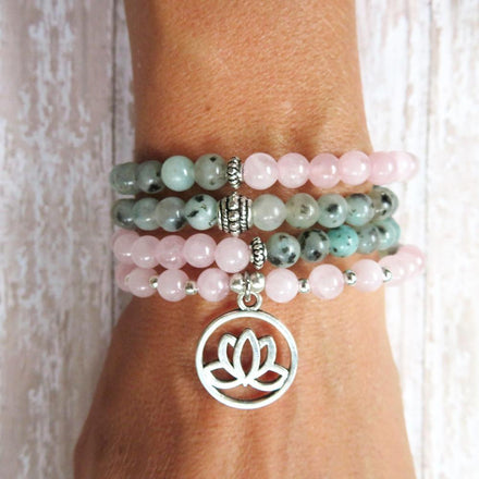 Mala Natural Kiwi Jasper Lotus Mala Third Eye Transcend