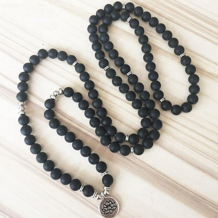 Mala Natural Matte Black Onyx Lotus Mala bead amethyst Third Eye Transcend amazonite mala meditation stone crysal reiki crystal healing bracelet necklace yoga bracelet yoga beads