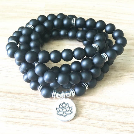 Buddhist Natural Matte Black Onyx Lotus Mala with Lotus Pendant