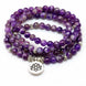 Image of Mala Natural Purple Agate Lotus Mala Third Eye Transcend