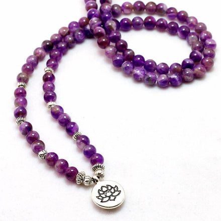 Mala Natural Purple Agate Lotus Mala Third Eye Transcend