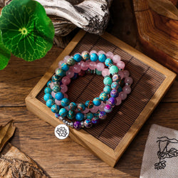 Mala Natural Purple Jasper and Rose Quartz Lotus Mala bead amethyst Third Eye Transcend amazonite mala meditation stone crysal reiki crystal healing bracelet necklace yoga bracelet yoga beads
