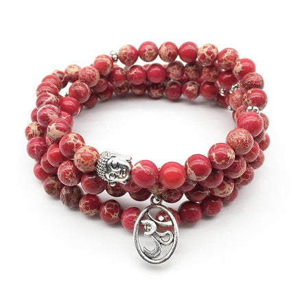 Mala Natural Red Calcite Om Mala bead amethyst Third Eye Transcend amazonite mala meditation stone crysal reiki crystal healing bracelet necklace yoga bracelet yoga beads
