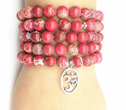 Natural Red Calcite  Mala with Silver Om Pendant