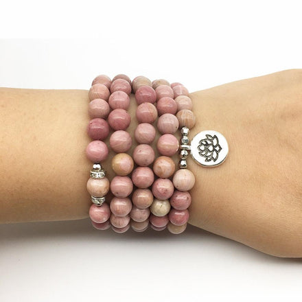 Natural Rhodonite Mala with Silver Lotus Pendant