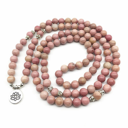 Mala Natural Rhodonite Lotus Mala bead amethyst Third Eye Transcend amazonite mala meditation stone crysal reiki crystal healing bracelet necklace yoga bracelet yoga beads