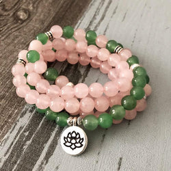 Mala Natural Rose Quartz and Green Aventurine Lotus Mala Third Eye Transcend
