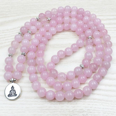 Meditating Buddha Mala Bracelet of 108 beads in Natural Rose Quartz