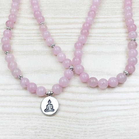 Mala Natural Rose Quartz Buddha Mala bead amethyst Third Eye Transcend amazonite mala meditation stone crysal reiki crystal healing bracelet necklace yoga bracelet yoga beads