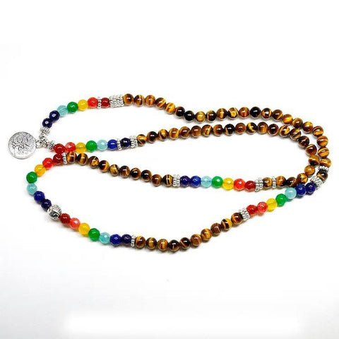 Mala Natural Tiger Eye 7 Chakra Mala Third Eye Transcend