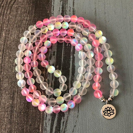 Mala Pink & Angel Aura Lotus Mala Third Eye Transcend