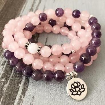 Mala Rose Quartz Heart Bundle bead amethyst Third Eye Transcend amazonite mala meditation stone crysal reiki crystal healing bracelet necklace yoga bracelet yoga beads