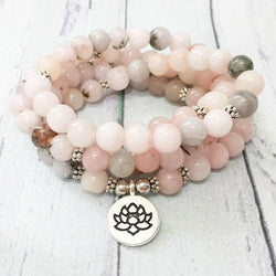 Mala Self Love Natural Rhodochrosite Lotus Mala Third Eye Transcend