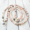 Image of Mala Self Love Natural Rhodochrosite Lotus Mala Third Eye Transcend