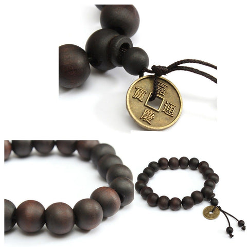 Prosperity Wooden Bracelet 10 mm Sandalwood Beads with Tibetan Charm for Prosperity and Wealth