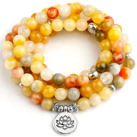 Mala Yellow Aventurine Lotus Mala bead amethyst Third Eye Transcend amazonite mala meditation stone crysal reiki crystal healing bracelet necklace yoga bracelet yoga beads
