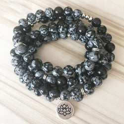 Natural Snowflake Obsidian Lotus Mala Third Eye Transcend