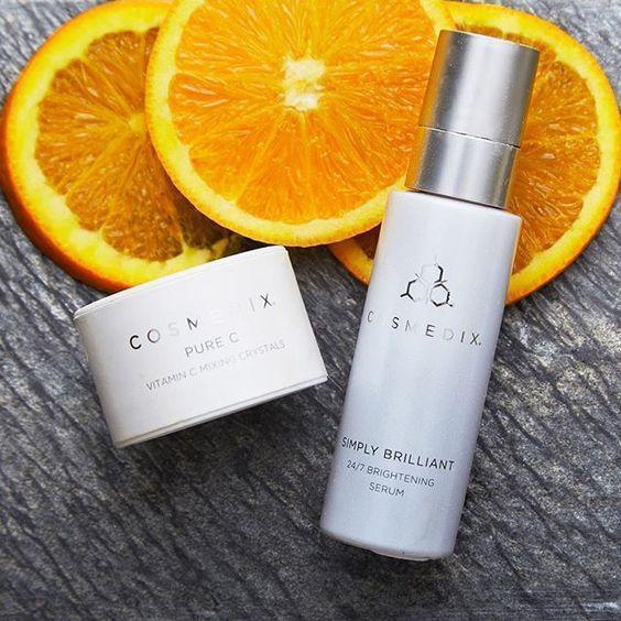 cosmedix pure c mixing crystals and cosmedix simply brillaint 24/7 brightening serum. Buy cosmedix at tina kay skincare