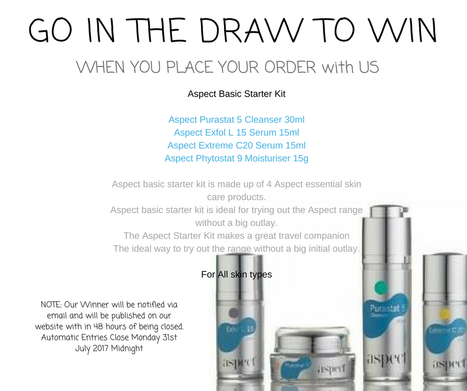 Aspect starter pack prize draw at tina kay skincare