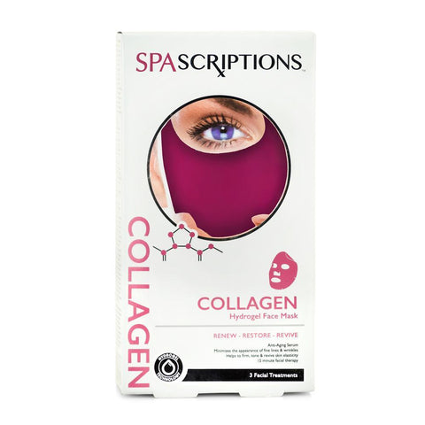 Spascriptions Hydrogel Mask - Collagen - 3 Face Treatments Per Pack.