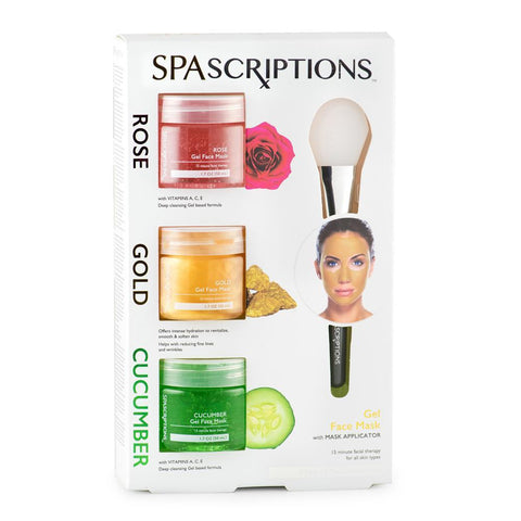 Spascriptions Rose, Gold And cucumber Gel Mask Pack - 3 x 50ml Combo Kit