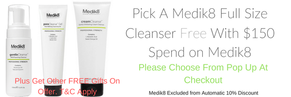 medik8 skincare products, cleanser ans serums , scrub free with medik8 skin care orders