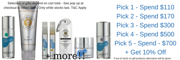 aspect skincare. free Aspect products with online purchase. Buy online at Tina Kay Skincare for great Aspect giveaways